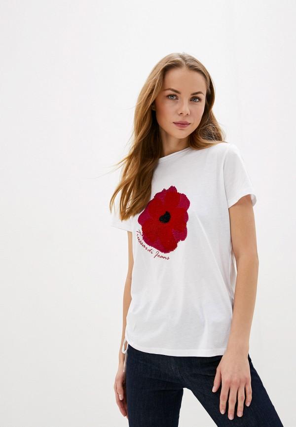 женская футболка trussardi, белая