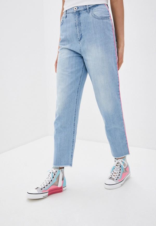 женские джинсы-мом trussardi, голубые