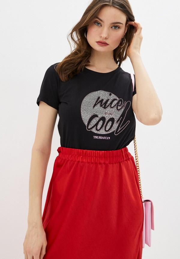 женская футболка trussardi, черная