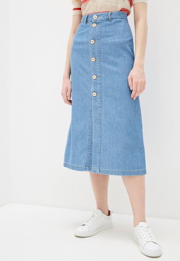 женская джинсовые юбка trussardi, голубая