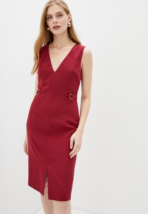 женское платье-футляр trussardi, бордовое