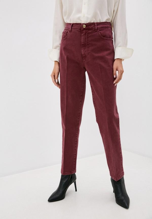 женские повседневные брюки trussardi, бордовые