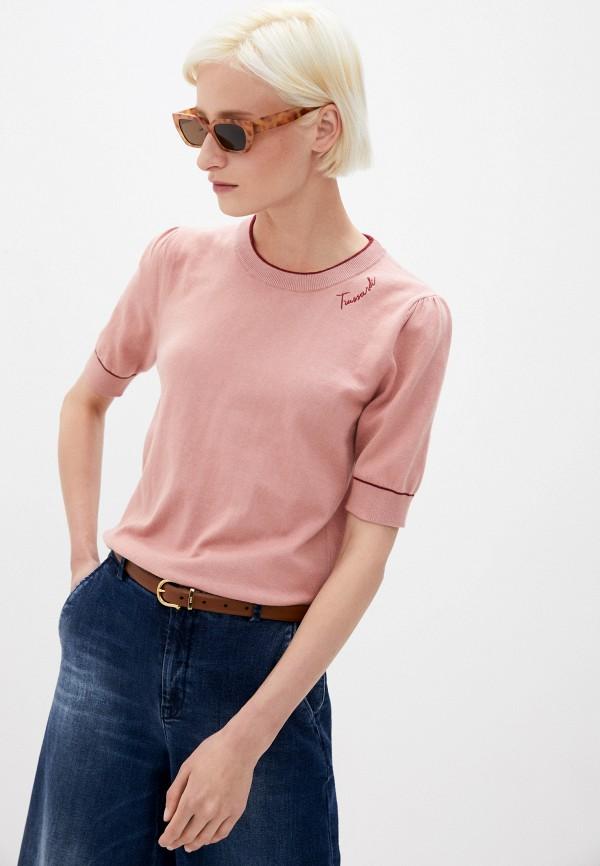 женский джемпер trussardi, розовый
