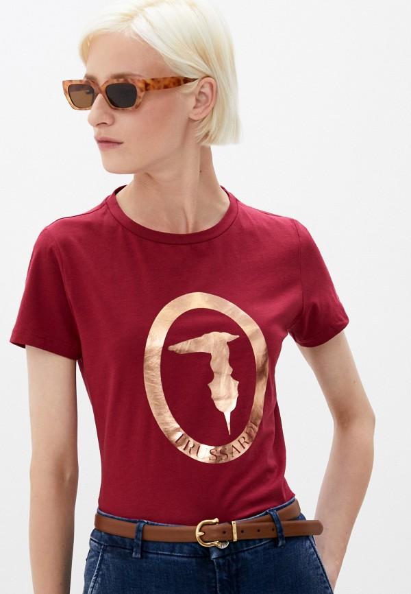 женская футболка trussardi, бордовая