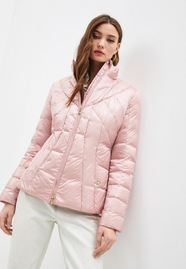 женский пуховик trussardi, розовый