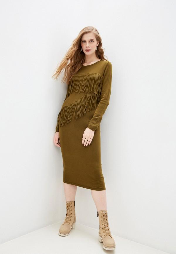 женское повседневные платье trussardi, хаки
