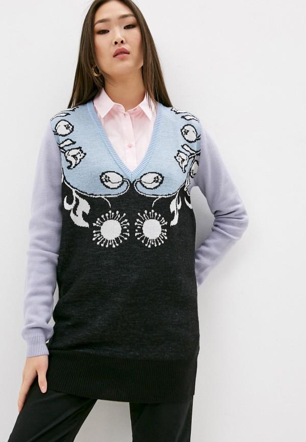 женский пуловер trussardi, разноцветный