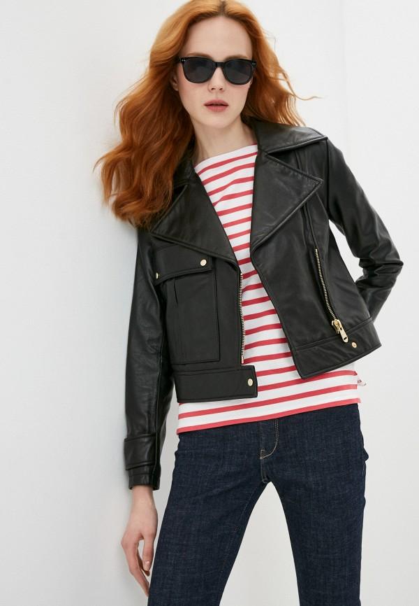 женская куртка косухи trussardi, черная