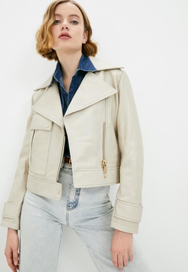 женская куртка косухи trussardi, бежевая