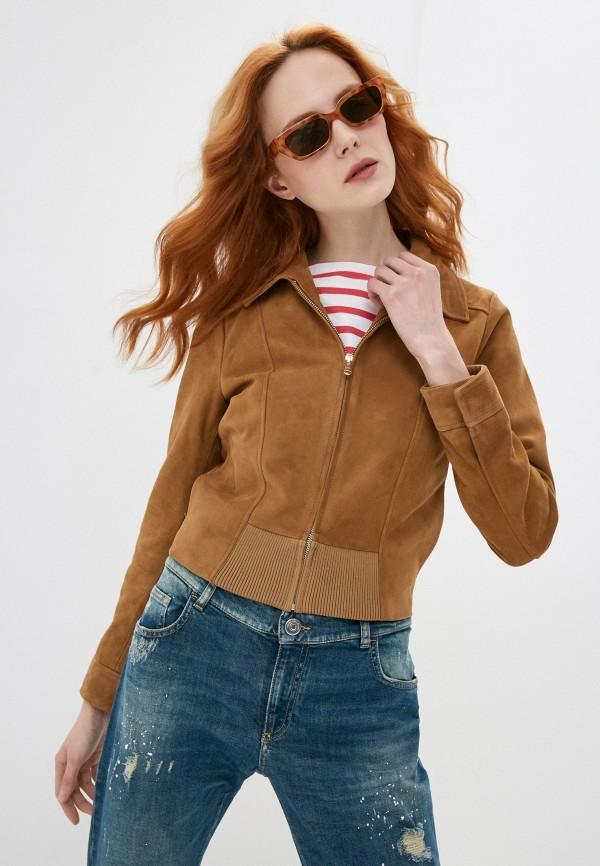 женская кожаные куртка trussardi, коричневая