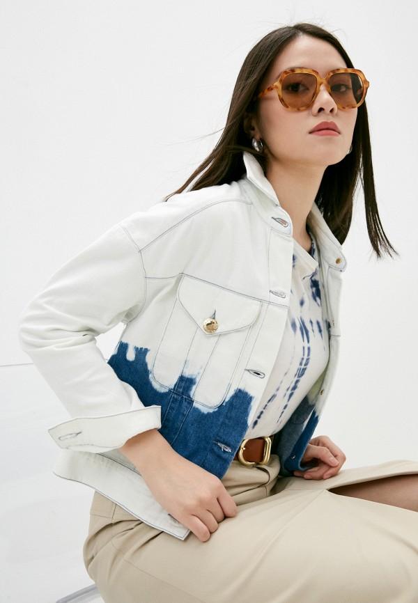 женская джинсовые куртка trussardi, голубая