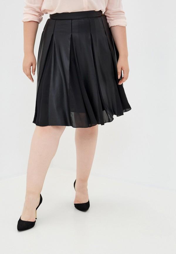 женская кожаные юбка trussardi, черная