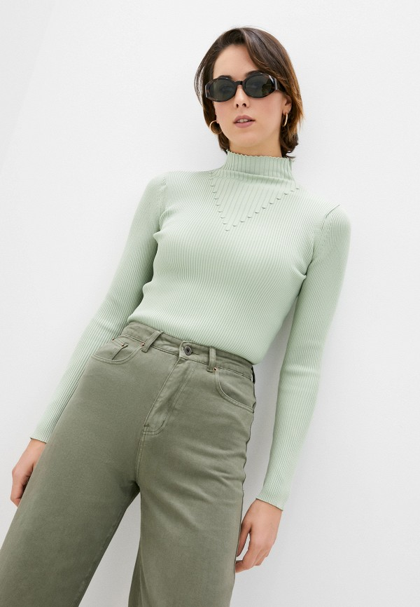 женская водолазка trendyol, зеленая