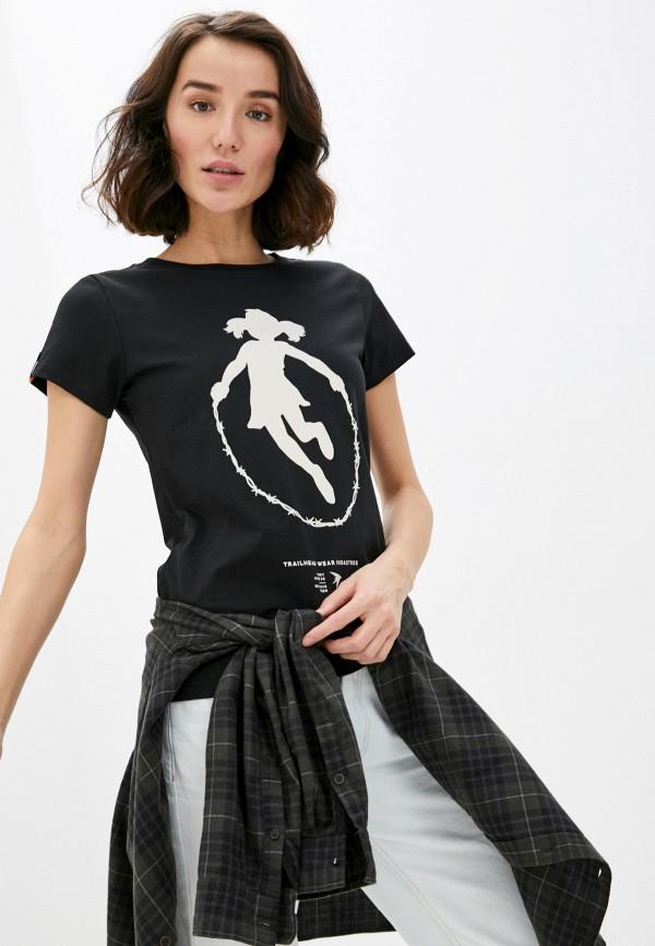 женская спортивные футболка trailhead, черная