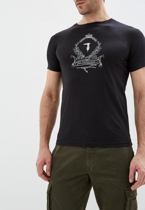 мужская футболка с коротким рукавом tru trussardi, черная
