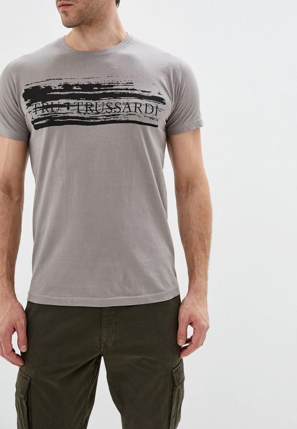 мужская футболка с коротким рукавом tru trussardi, серая