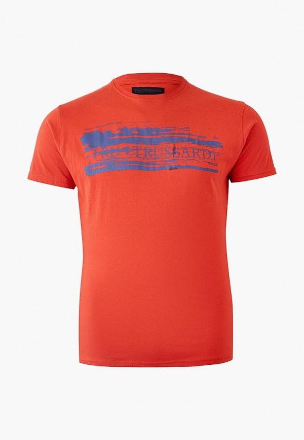 мужская футболка с коротким рукавом tru trussardi, красная