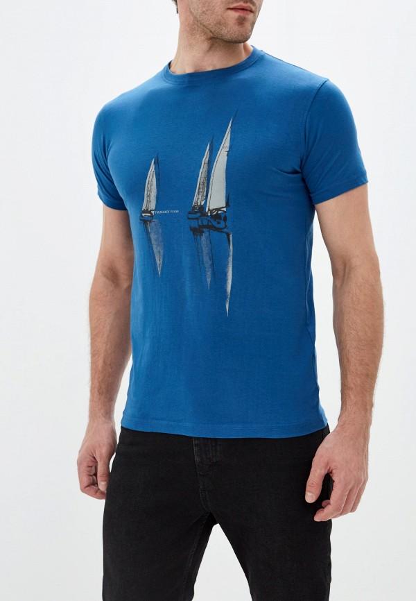 мужская футболка с коротким рукавом tru trussardi, синяя
