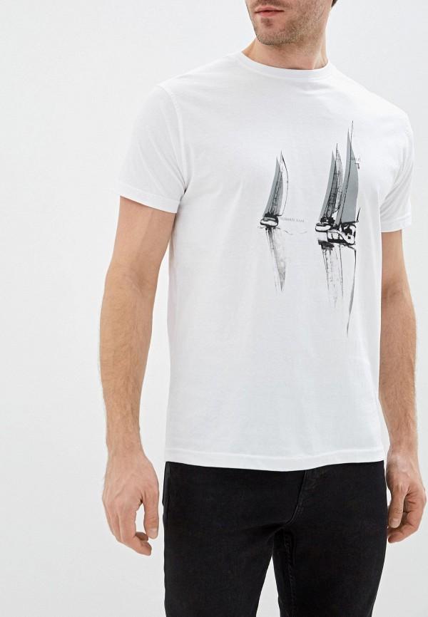 мужская футболка с коротким рукавом tru trussardi, белая