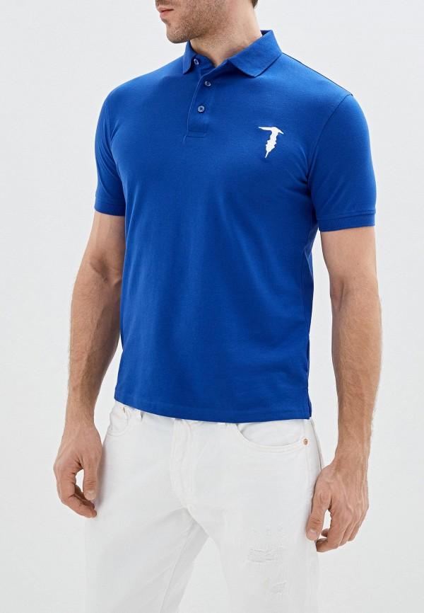 мужское поло tru trussardi, синее