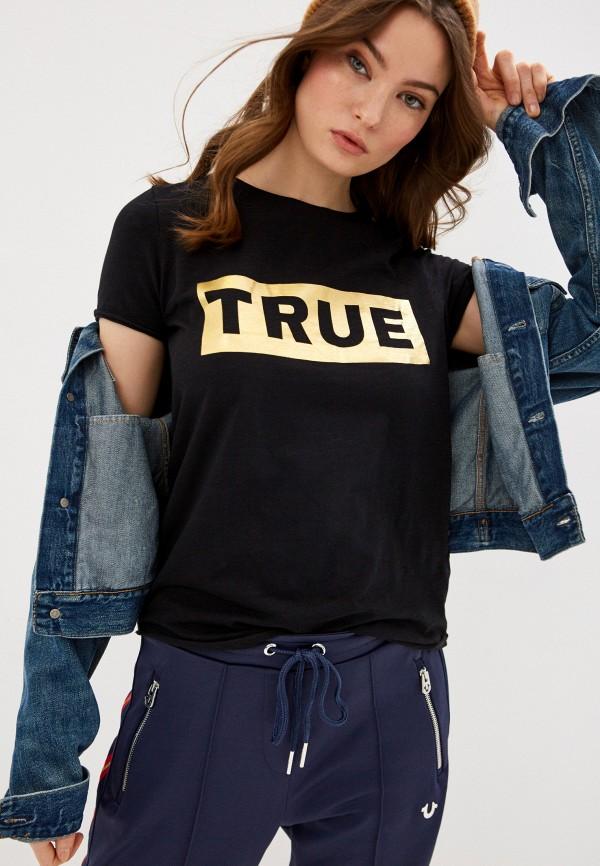 женская футболка true religion, черная