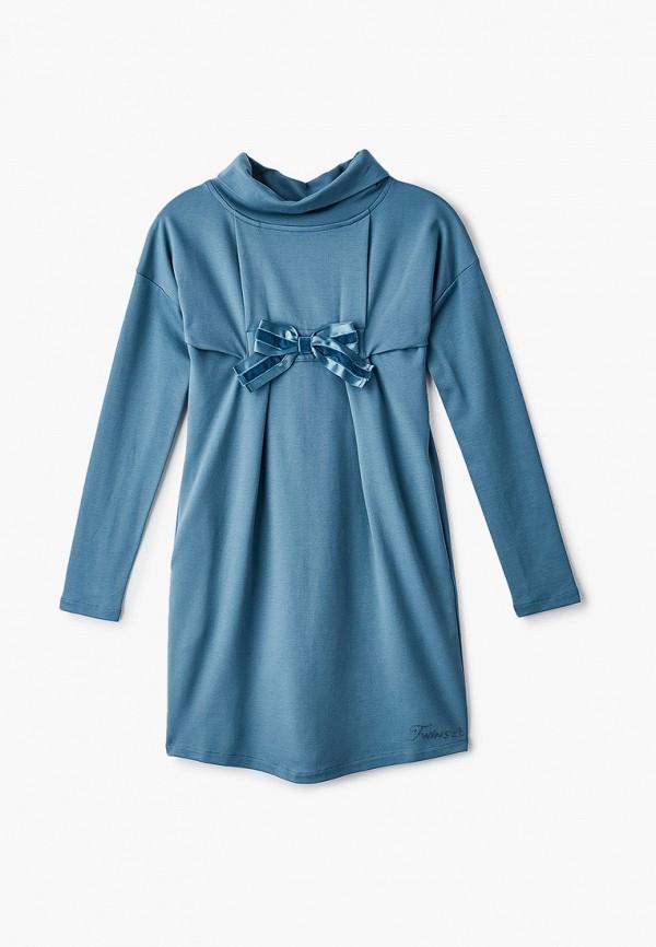 повседневные платье twinset milano для девочки, бирюзовое