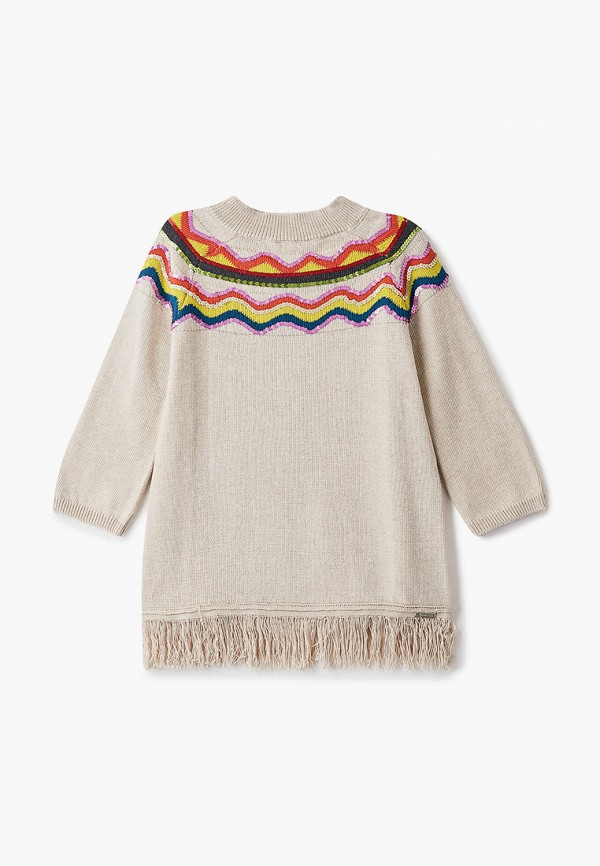 повседневные платье twinset milano для девочки, бежевое