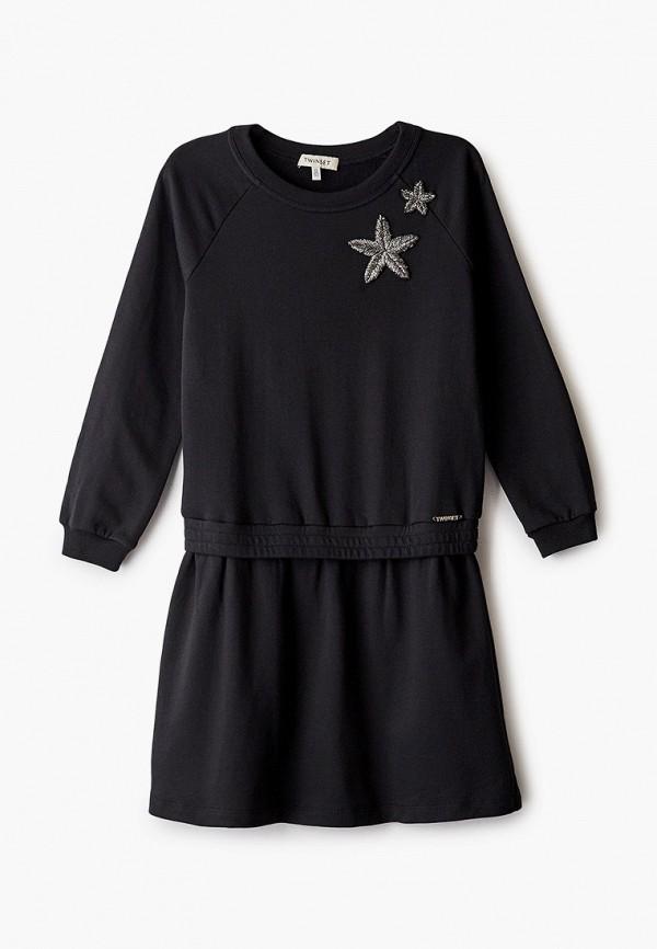 повседневные платье twinset milano для девочки, черное