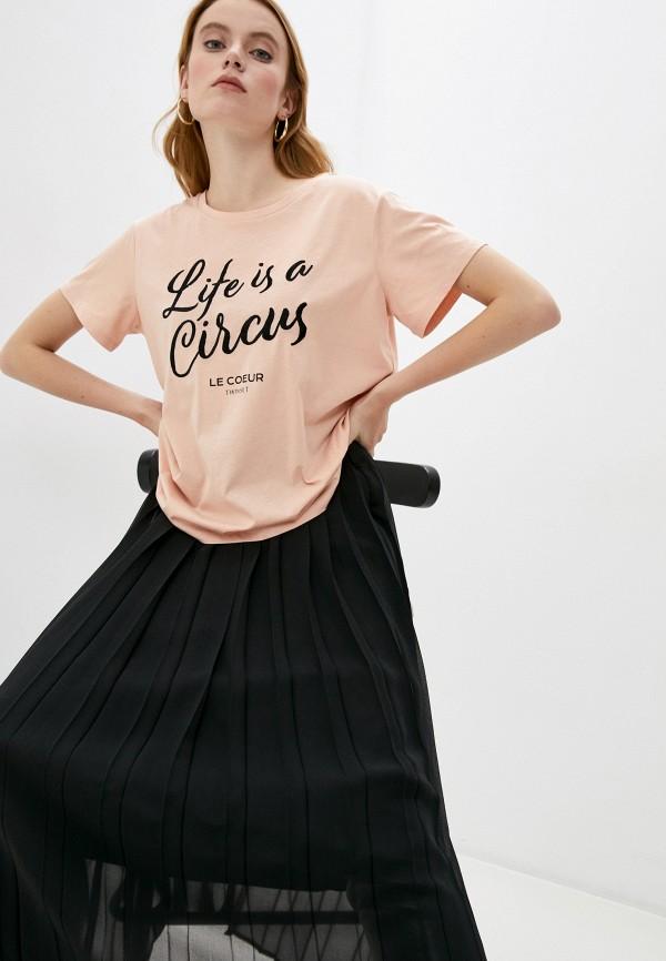 женская футболка twinset milano, розовая