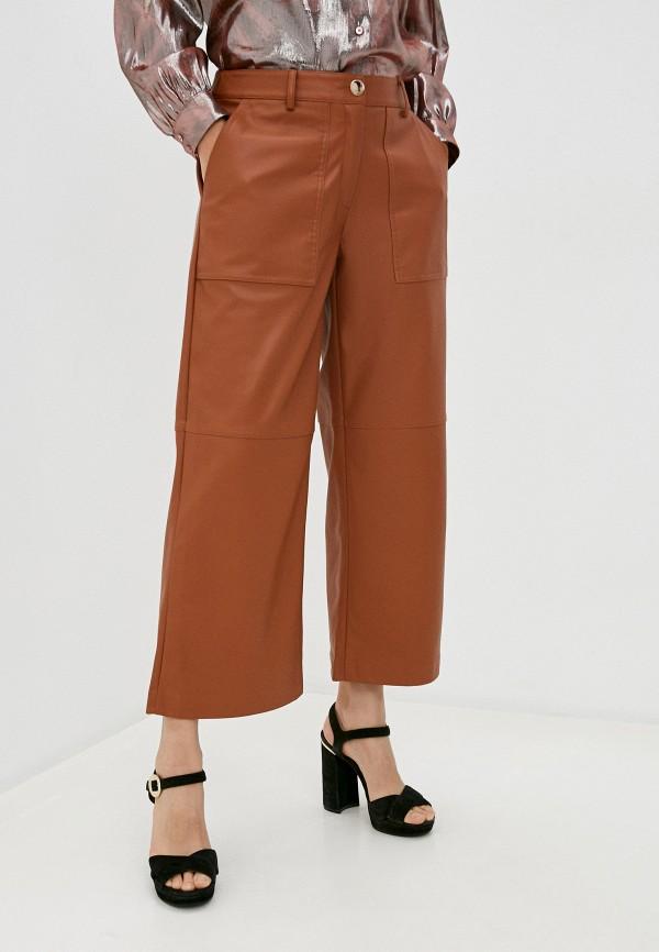 женские кожаные брюки twinset milano, коричневые