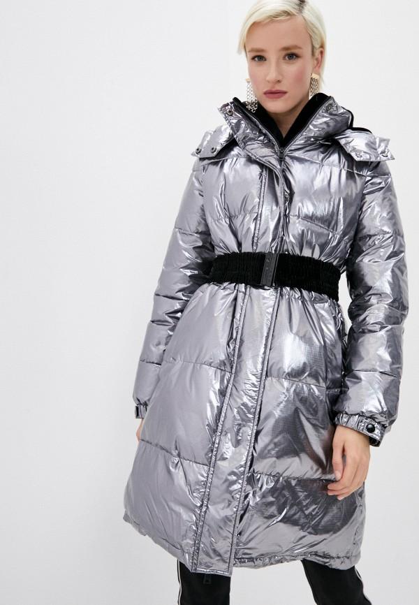 женская утепленные куртка twinset milano, серебряная