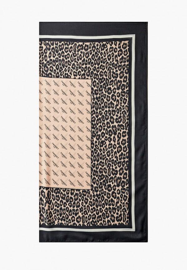 женский платок twinset milano, коричневый