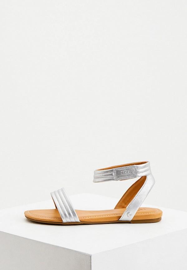 женские сандалии ugg, серебряные