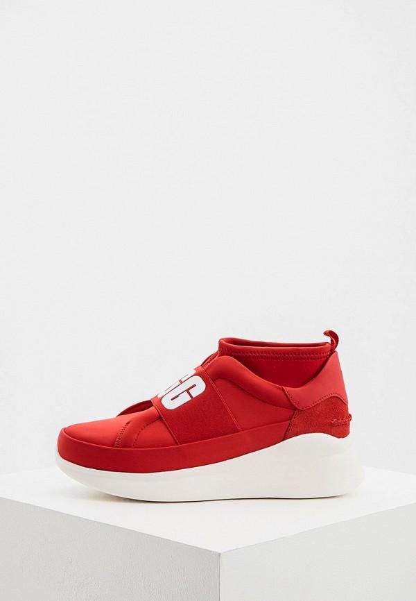 женские высокие кроссовки ugg, красные