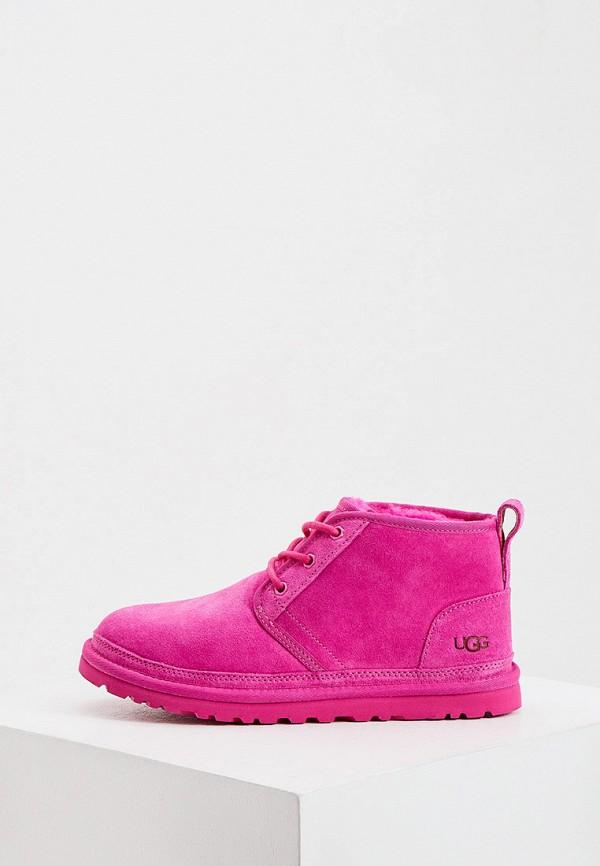 женские ботинки ugg, розовые