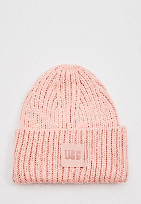 женская шапка ugg, розовая