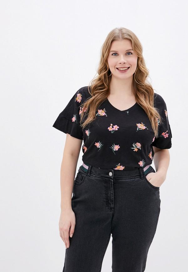 женская футболка ulla popken, черная