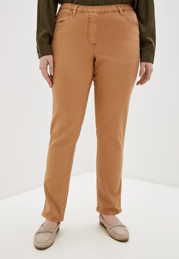 женские прямые брюки ulla popken, коричневые