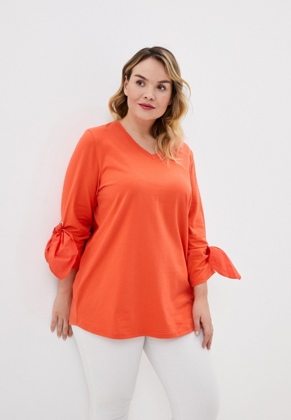 женский лонгслив ulla popken, оранжевый