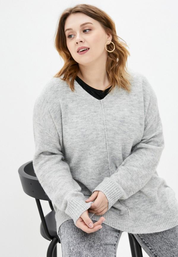 женский пуловер ulla popken, серый