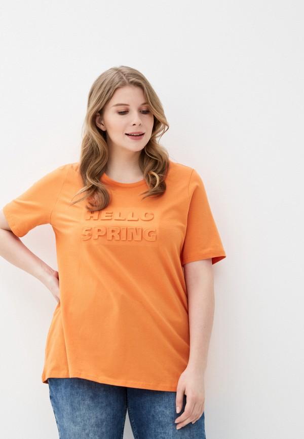 женская футболка ulla popken, оранжевая