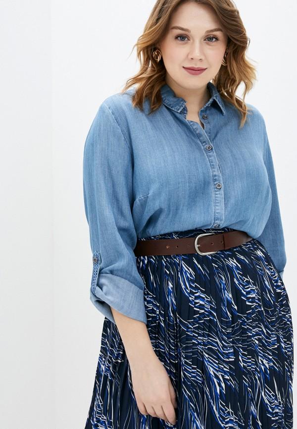 женская рубашка с длинным рукавом ulla popken, синяя
