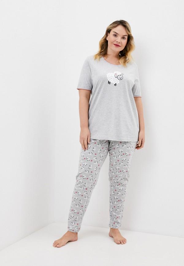 женская пижама ulla popken, серая