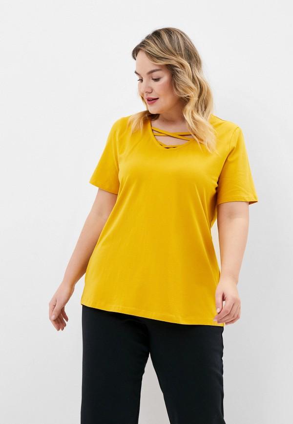 женская футболка ulla popken, желтая