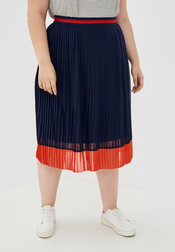 женская плиссированные юбка ulla popken, синяя