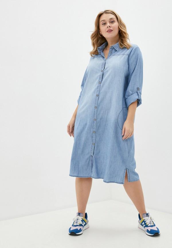 женское джинсовые платье ulla popken, голубое