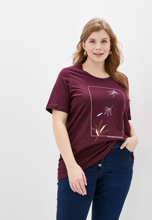 женская футболка ulla popken, бордовая