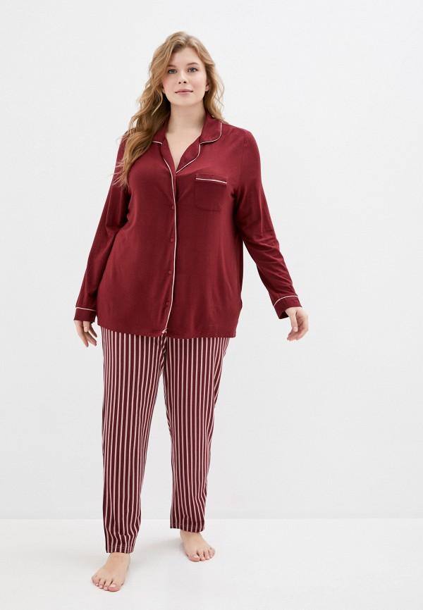 женская пижама ulla popken, бордовая