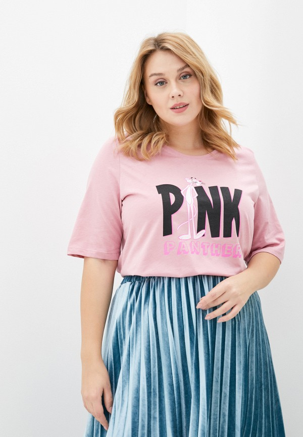 женская футболка ulla popken, розовая