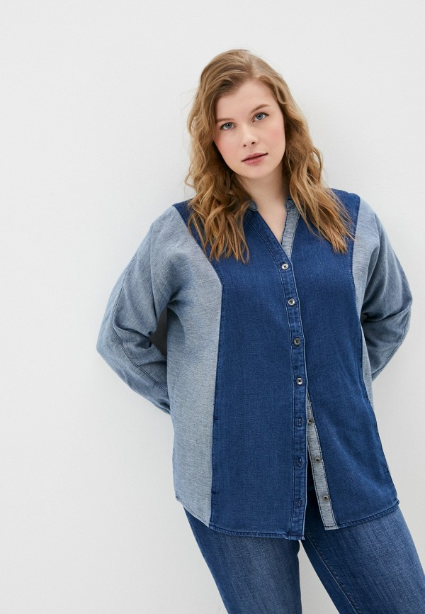 женская джинсовые рубашка ulla popken, синяя